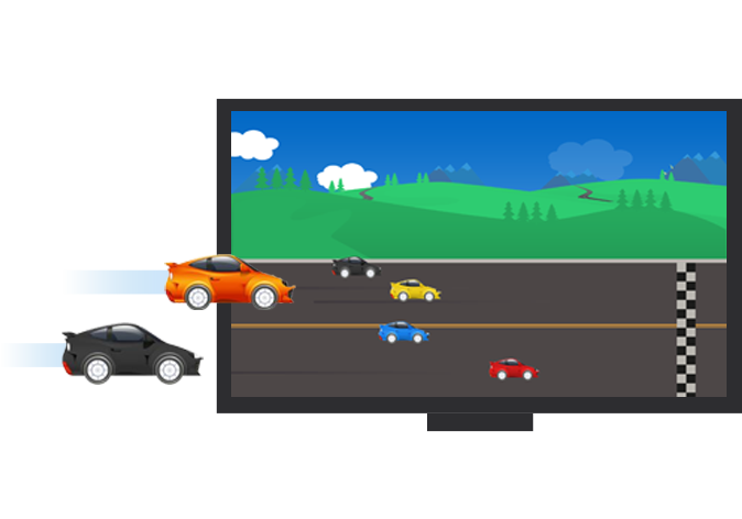 Screen showing cars moving towards finish